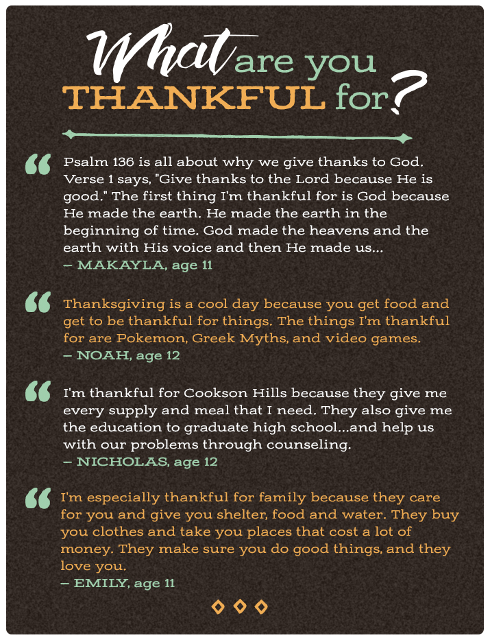 what are you thankful for  cookson hills quotes